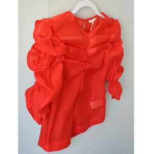NWT Red Sheer Puff Sleeve Top Rouched Blouse H&M